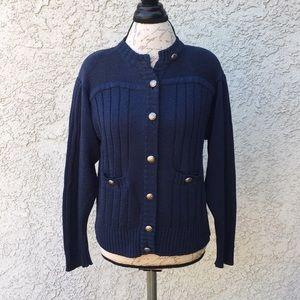 Vintage Liz Claiborne Navy Blue Cardigan Sweater